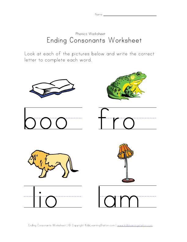 ending consonants worksheet 4