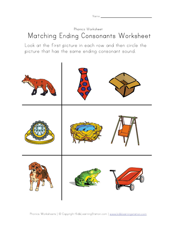 ending consonant worksheet