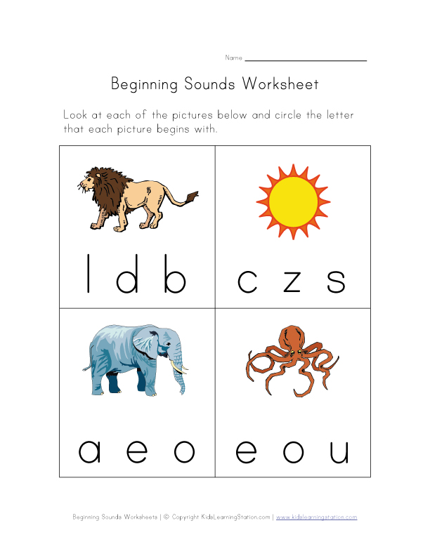 beginning sounds worksheet 3