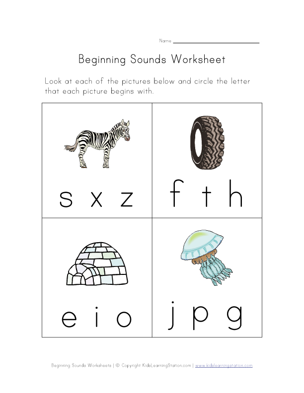 beginning sounds worksheet 4