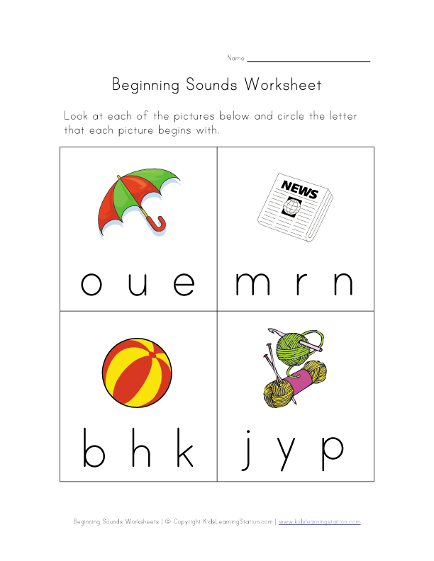 beginning sounds worksheet 5