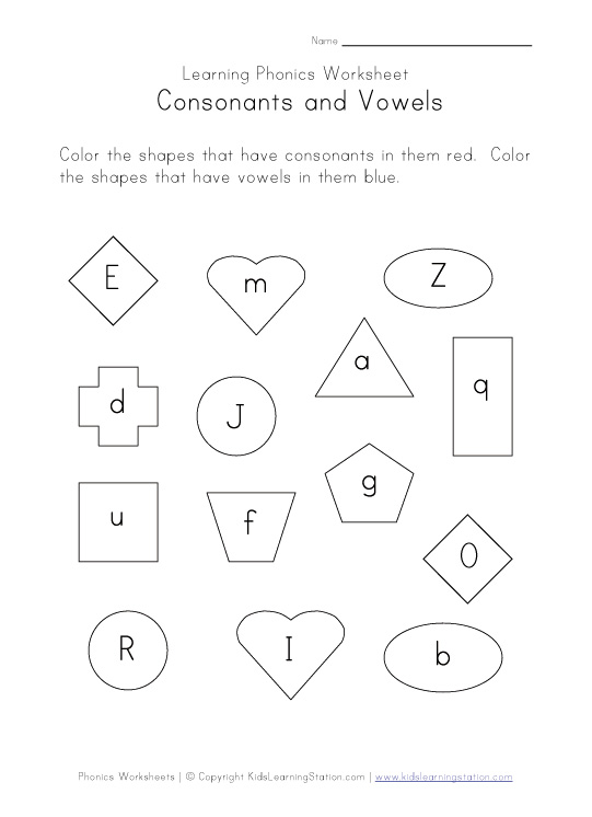 consonants vowels worksheet