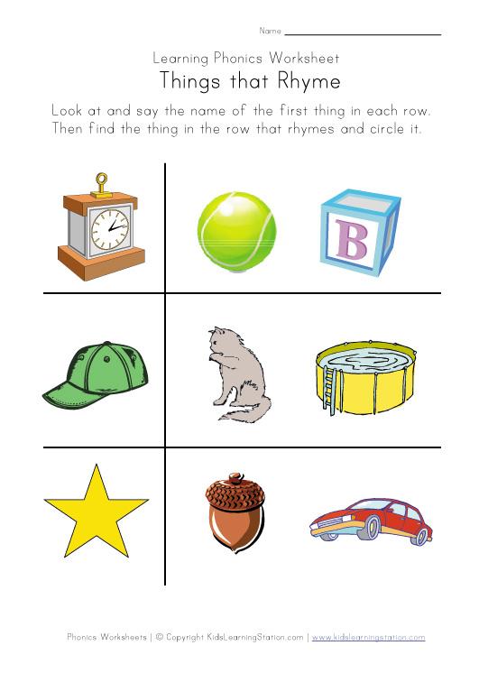 Rhyming Worksheets - Phonics for Kids | Kids Learning Station
