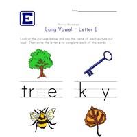 Long Vowel E Words Worksheet | Kids Learning Station