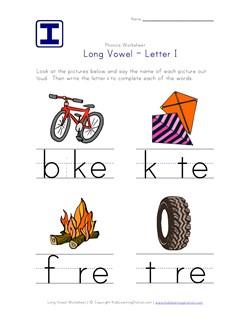 Long Vowel I Worksheet | Kids Learning Station
