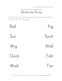 math worksheet : rhyming worksheets  phonics for kids  kids learning station : Rhyming Kindergarten Worksheets