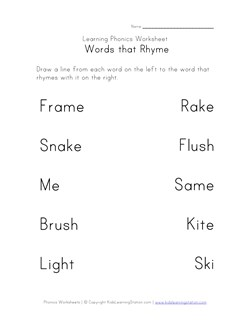math worksheet : rhyming worksheets  phonics for kids  kids learning station : Rhyming Worksheets Kindergarten