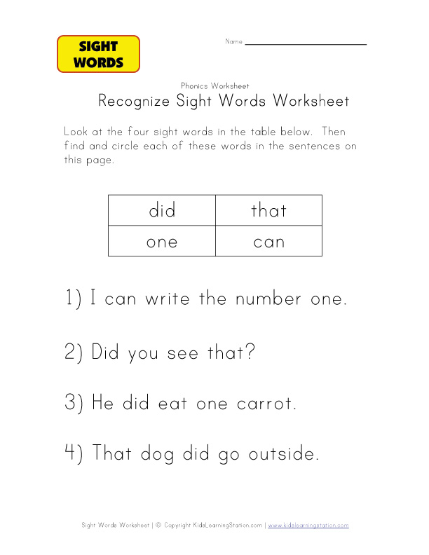 teach sight words are in