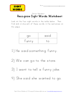 Said, Go, worksheet word did and Activity Sight sight  Funny Words To  Worksheet
