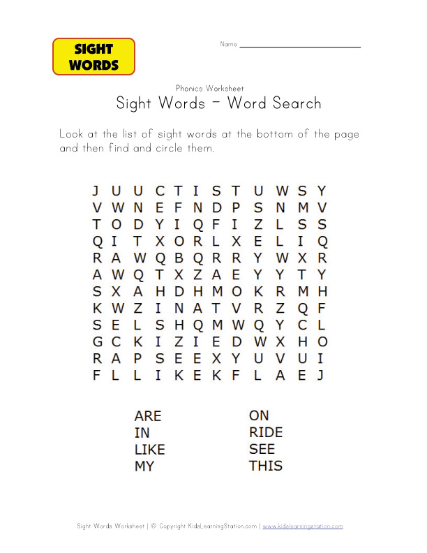 Word word  Recognition Search Word easy sight Sight worksheets Worksheets