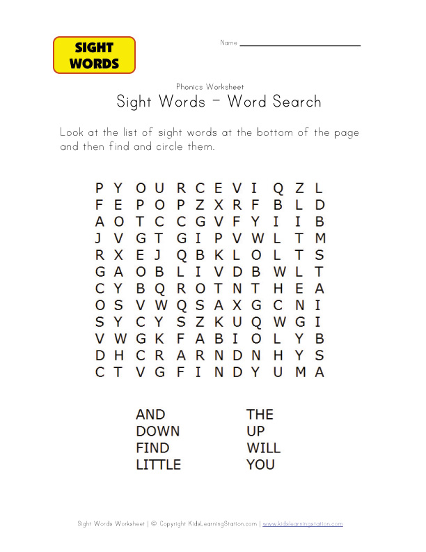 Words 6 Search    words Word Sight phonics sight and