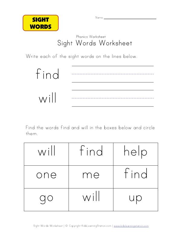 teach sight words find will