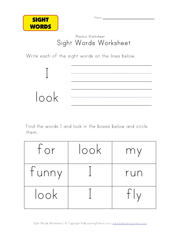 teach sight words i look