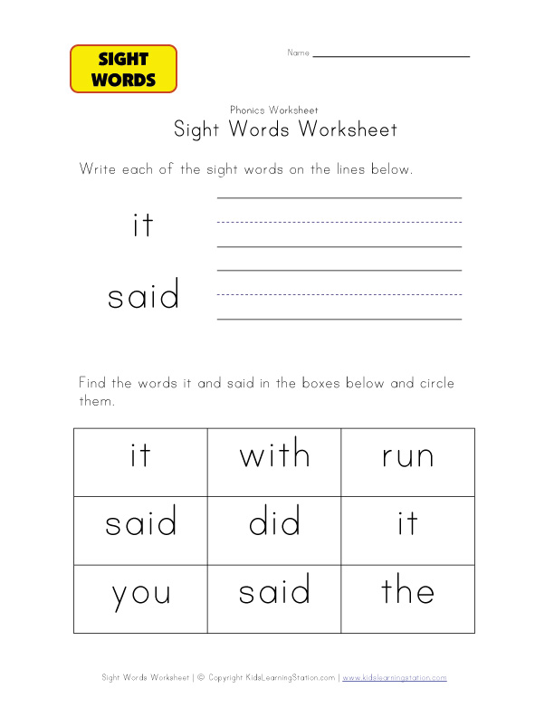 teach sight words it said