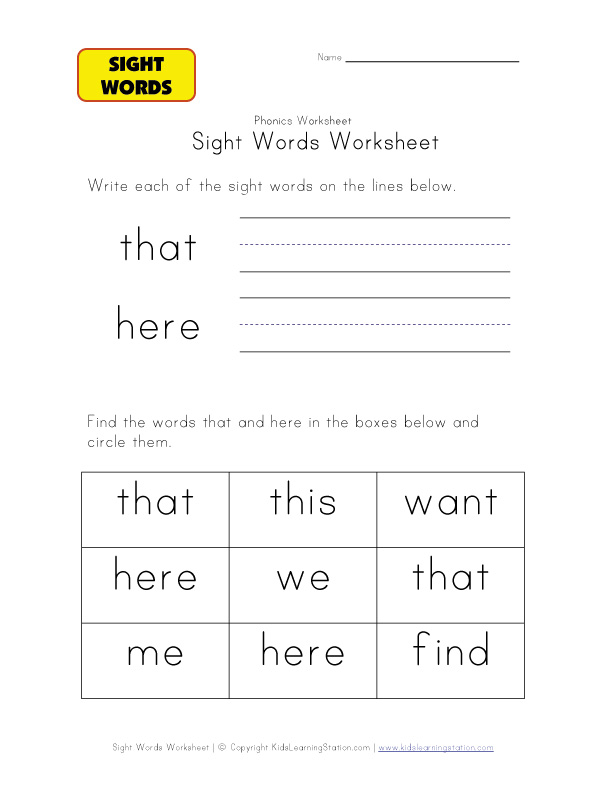 teach sight words that here