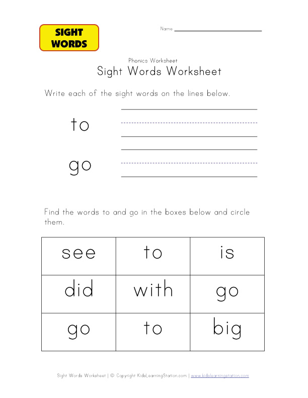 teach sight words to go