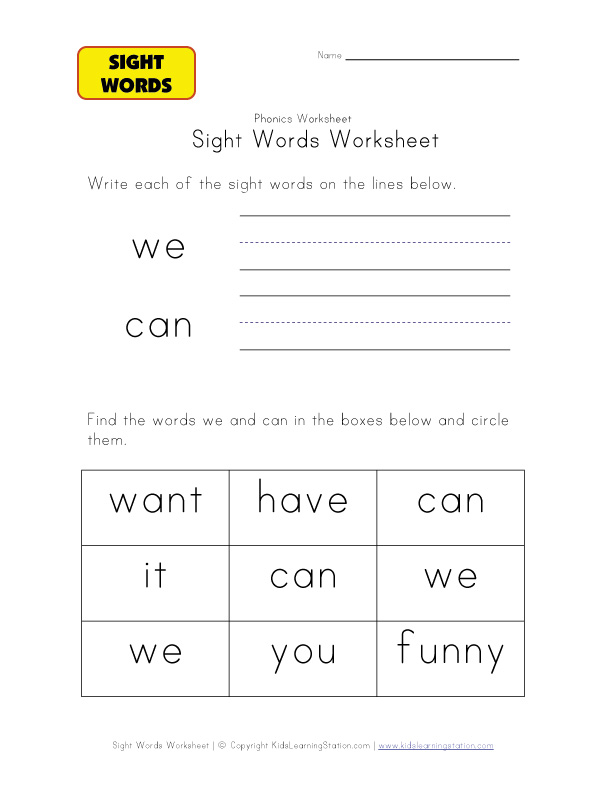 teach sight words we can
