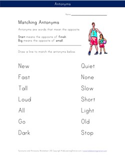 math worksheet : matching antonyms worksheet  kids learning station : Kindergarten Opposites Worksheet