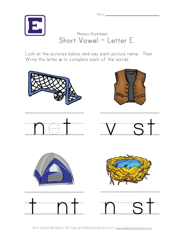 Short E Vowel Worksheets Davezan – Short E Worksheets for Kindergarten