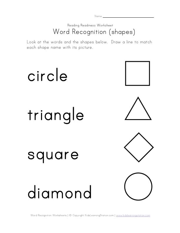word recognition worksheet shapes