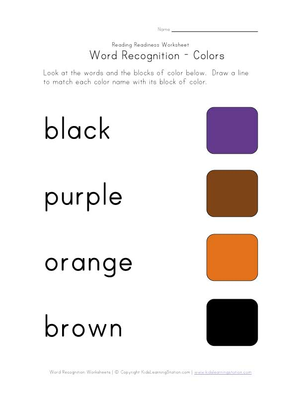 recognize color names worksheet