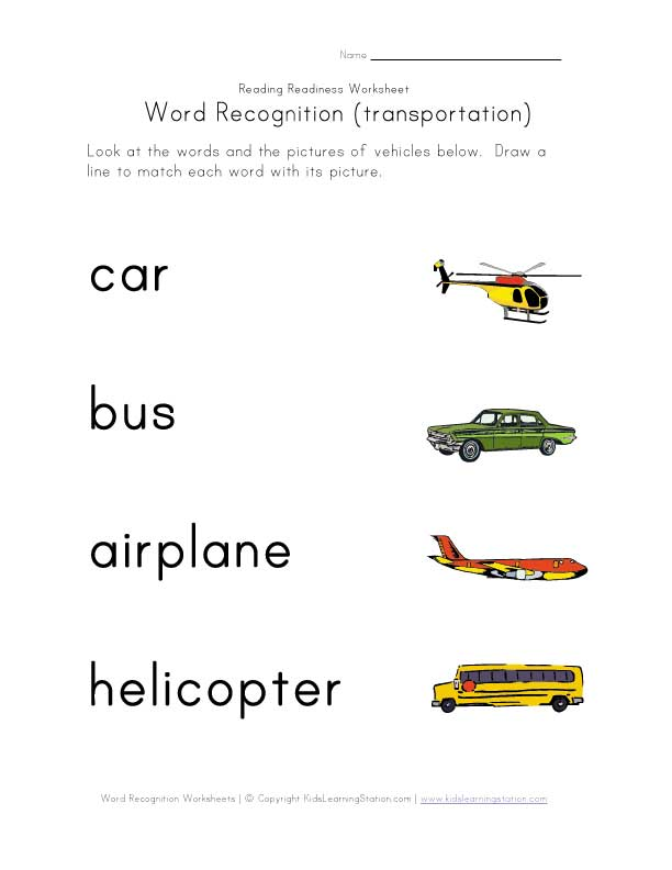 word recognition worksheet transportation