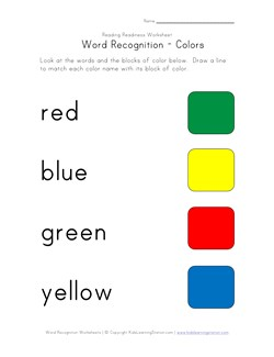 Word Recognition Worksheet - Colors | Kids Learning Station