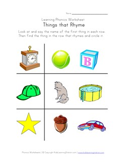Rhyming Worksheets - Phonics for Kids | Kids Learning Station