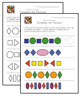 complete the patterns worksheets