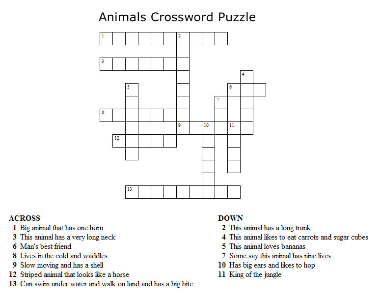 Crossword+puzzles+for+kids