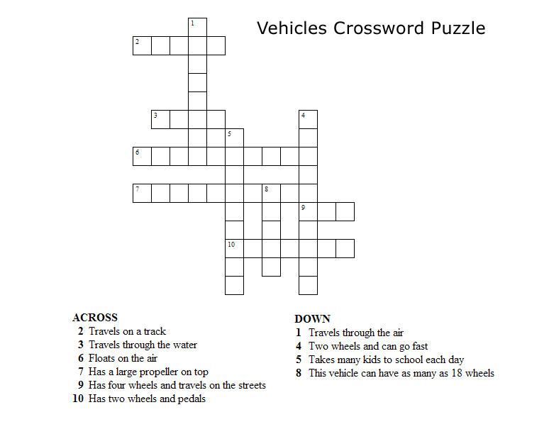 Kids Crossword Puzzles - Print your Vehicles Crossword Puzzle puzzle ...