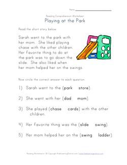 math worksheet : reading comprehension  going to the park  kids learning station : Worksheets For Kindergarten Reading