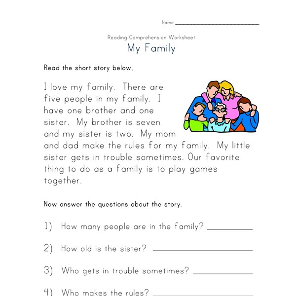 Reading Comprehension Worksheet - My Family : All Kids Network