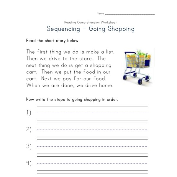 Sequencing Reading Comprehension Worksheet - Going ...