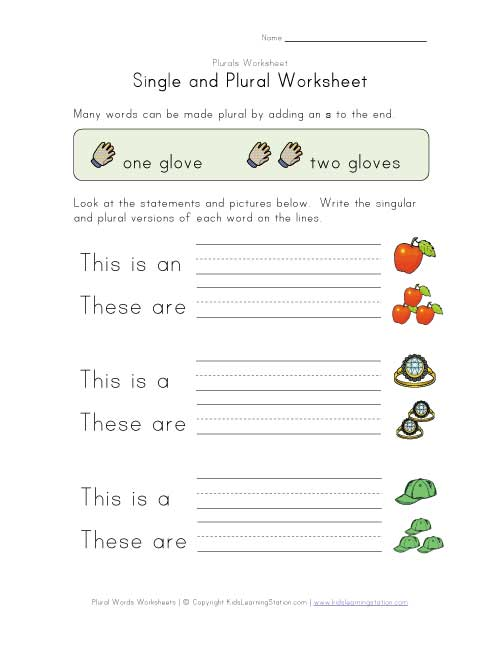 Nouns Worksheets For Kindergarten Writing plurals worksheet