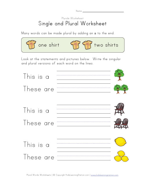 kidslearningstation.comsingle plural worksheet