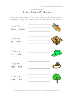Word and Picture Clue Riddle Worksheets | Kids Learning Station