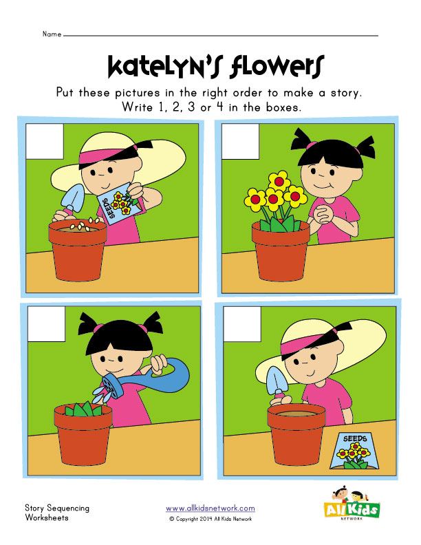 View and Print Your Planting Flowers Sequencing Worksheet