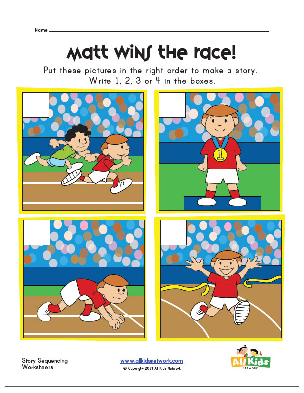 Sequencing Worksheet - Race | Kids Learning Station