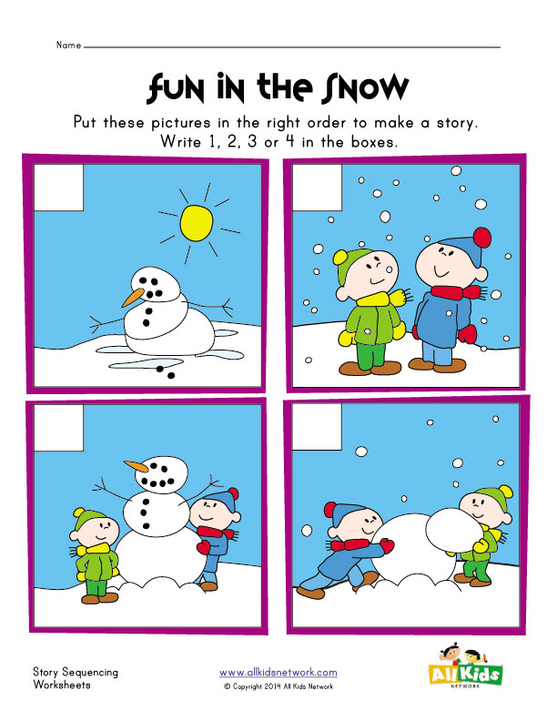 View and Print Your Snowman Sequencing Worksheet
