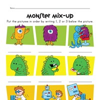 monsters story sequence worksheet