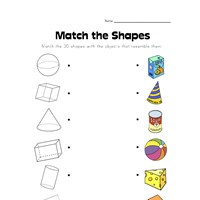 3d shape matching worksheet