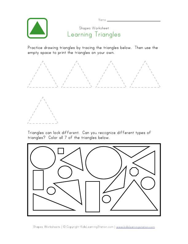 Printable Triangle Worksheets : Free printable preschool worksheets shapes