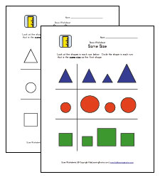 compare sizes worksheet