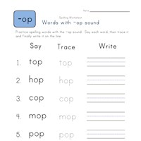 Say, Trace and Write -op Words worksheet