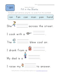 math worksheet : complete the sentences with an words  kids learning station : Kindergarten Fill In The Blank Worksheets