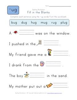 math worksheet : spelling ug words  1st grade spelling worksheets  kids learning  : Kindergarten Fill In The Blank Worksheets