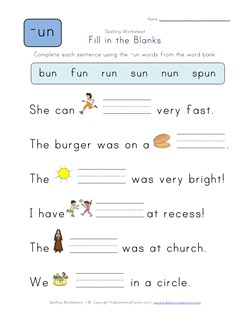 math worksheet : complete the sentences with un words  kids learning station : Fill In The Blank Worksheets For Kindergarten
