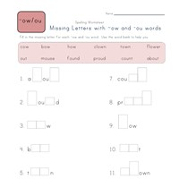 missing letters in -ow and -ou words worksheet