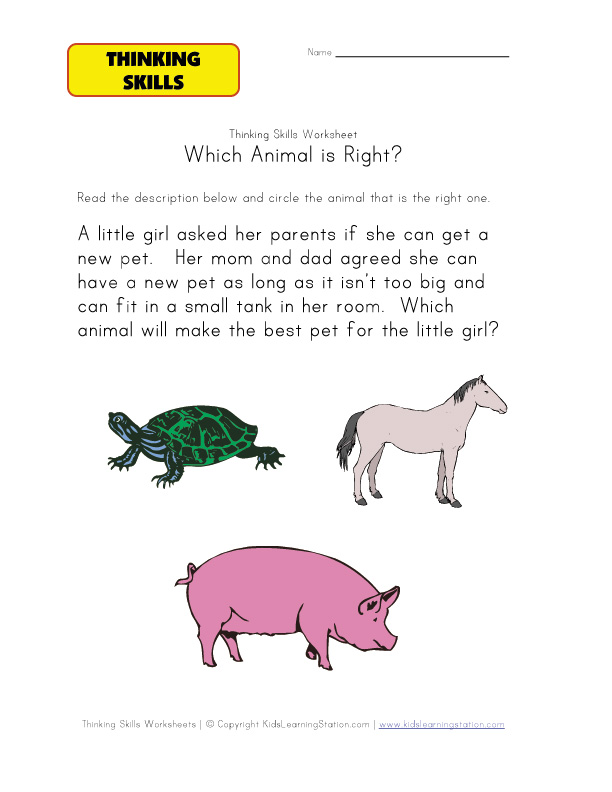 practice thinking skills worksheet